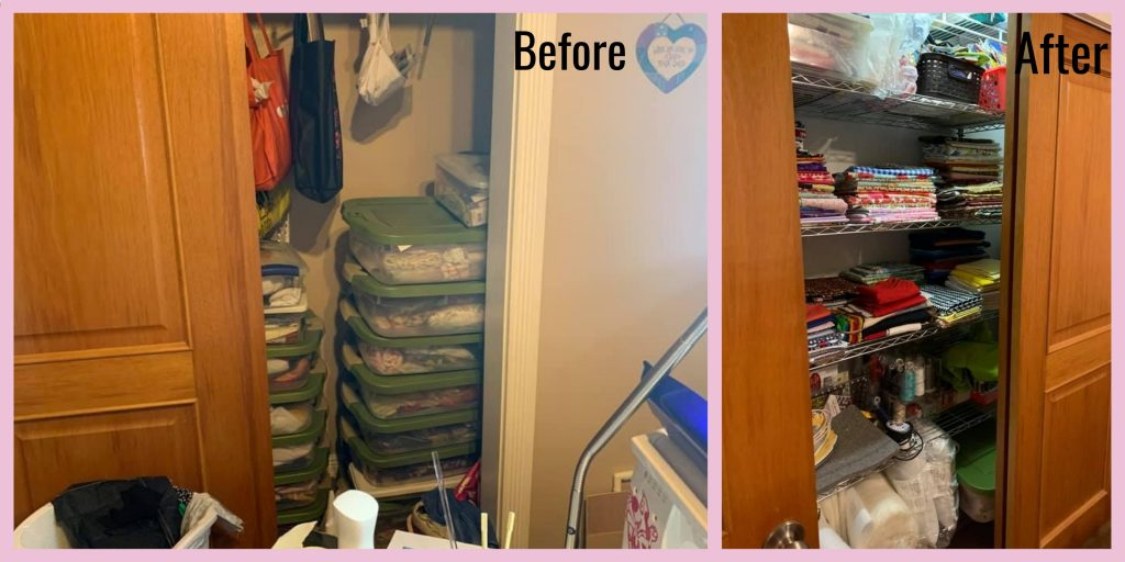 before and after photos of a readers sewing room, the cupboard now has shelving and looks much tidier